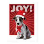 Perro feliz del día de fiesta - Jack Russell Santa Postal