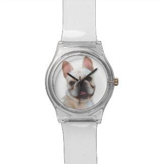 Perro feliz del dogo francés reloj de mano