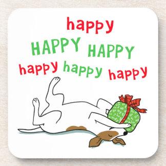 Perro feliz del navidad de Jack Russell Terrier Posavasos