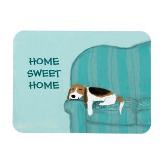 Perro feliz del sofá - beagle casero dulce casero imanes rectangulares