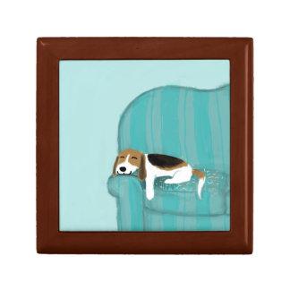 Perro feliz del sofá - beagle lindo cajas de joyas