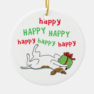 Perro feliz feliz del navidad de Jack Russell Adorno Navideño Redondo De Cerámica
