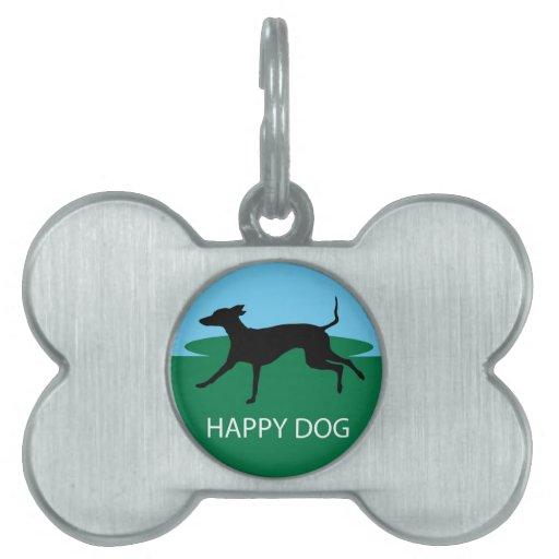Perro feliz placa de mascota