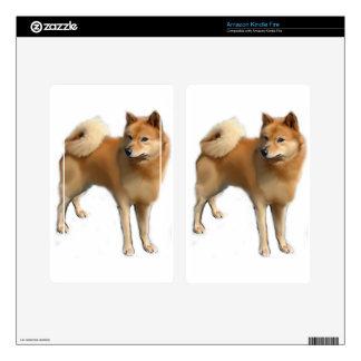 Perro finlandés del perro de Pomerania Pegatina Skin Para Kindle Fire