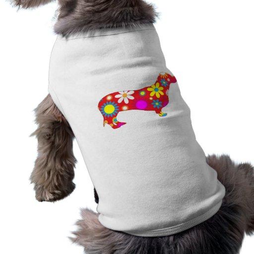 Perro floral enrrollado del dachshund playera sin mangas para perro