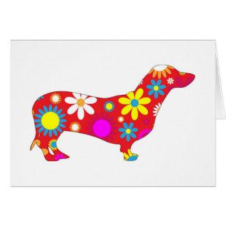 Perro floral enrrollado del dachshund tarjetas