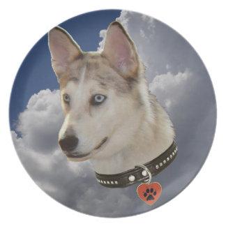 Perro fornido sereno en nubes blancas mullidas platos para fiestas