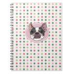 Perro francés del toro y puntos coloridos libreta