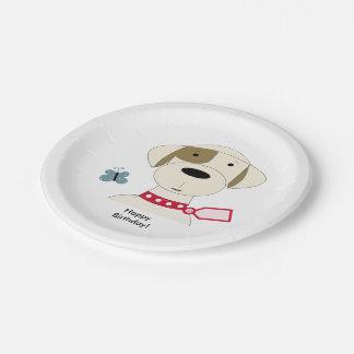Perro fresco con un cuello rojo plato de papel de 7 pulgadas