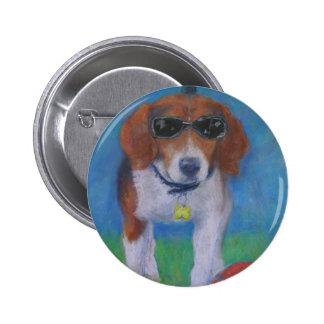 Perro fresco del perro vivaracho pin redondo de 2 pulgadas