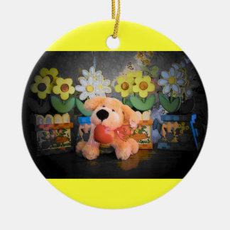 Perro/gato y flores de la felpa adorno navideño redondo de cerámica