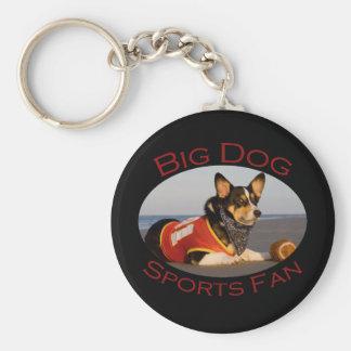 Perro grande fan de deportes llaveros personalizados