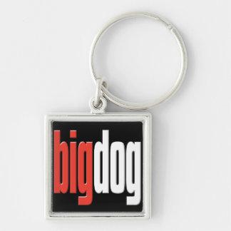 Perro grande. Perro superior. Queso grande. Cadena Llavero Cuadrado Plateado