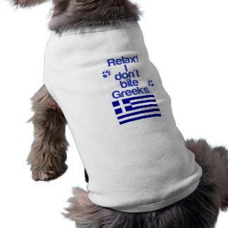 Perro griego xenófobo playera sin mangas para perro
