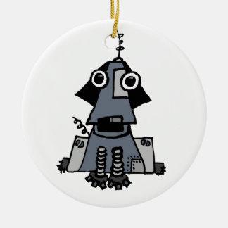 Perro gris del robot adorno navideño redondo de cerámica