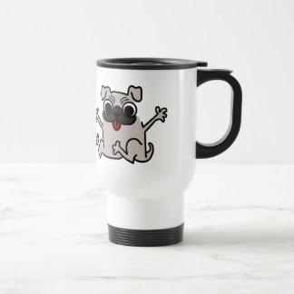 Perro gris/gris del salto del dibujo animado del taza de café