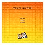 Perro gruñón amarillo-naranja invitación personalizada