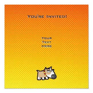 """Perro gruñón amarillo-naranja invitación 5.25"""" x 5.25"""""""