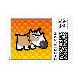 Perro gruñón amarillo-naranja sellos