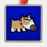 Perro gruñón azul adorno de navidad