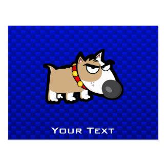 Perro gruñón azul tarjeta postal