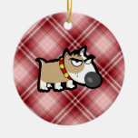 Perro gruñón de la tela escocesa roja ornamente de reyes