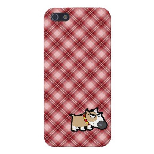 Perro gruñón de la tela escocesa roja iPhone 5 carcasa