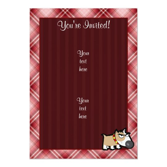 """Perro gruñón de la tela escocesa roja invitación 5"""" x 7"""""""