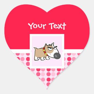 Perro gruñón lindo pegatinas de corazon personalizadas