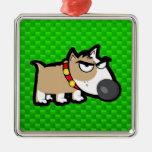 Perro gruñón; Verde Ornamento Para Arbol De Navidad