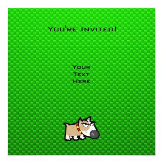 """Perro gruñón; Verde Invitación 5.25"""" X 5.25"""""""