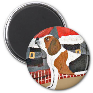 Perro guardián del beagle el Nochebuena Imán Para Frigorífico