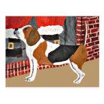 Perro guardián del beagle el Nochebuena Tarjetas Postales
