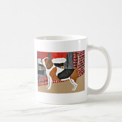 Perro guardián del beagle el Nochebuena Taza De Café