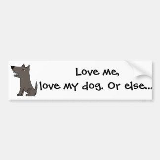 Perro guardián gris divertido pegatina de parachoque