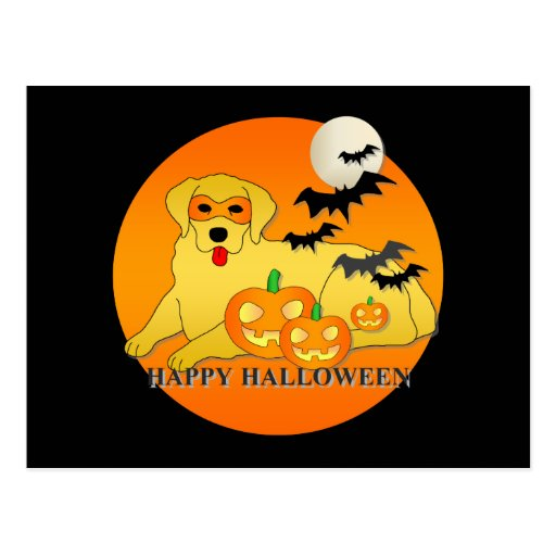 Perro Halloween del golden retriever Tarjeta Postal