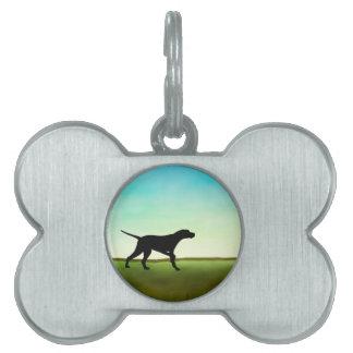 Perro herboso del indicador del campo placas de mascota
