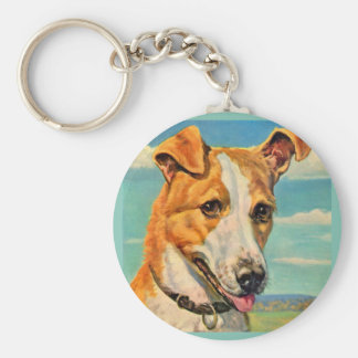 perro hermoso del perro llavero redondo tipo pin