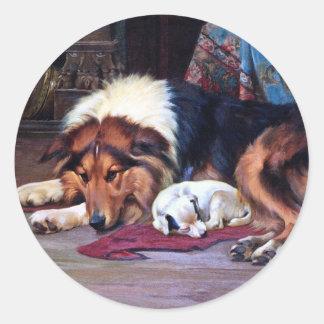 Perro huérfano con arte del vintage del collie etiqueta redonda