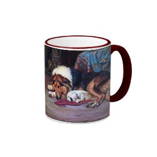 Perro huérfano con arte del vintage del collie taza a dos colores