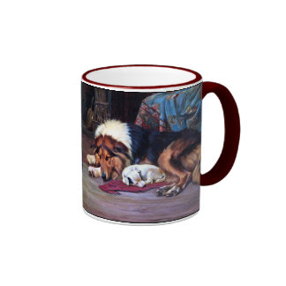Perro huérfano con arte del vintage del collie taza de dos colores