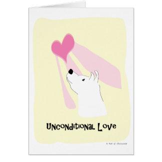 Perro incondicional del amor - pata de la atracció felicitación