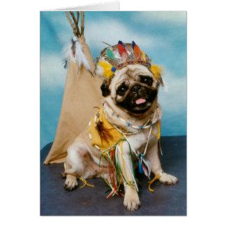 Perro indio del barro amasado del nativo americano tarjeta de felicitación