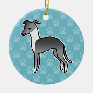 Perro irlandés azul del dibujo animado del galgo adorno navideño redondo de cerámica