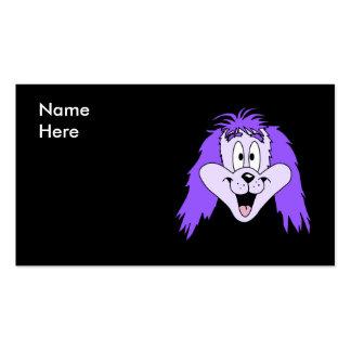 Perro lanudo púrpura. Historieta Plantilla De Tarjeta De Negocio