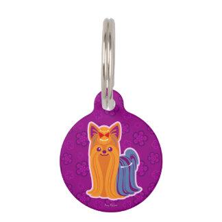 Perro largo del dibujo animado de Yorkie del pelo Identificador Para Mascotas