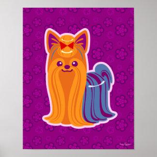 Perro largo del dibujo animado de Yorkie del pelo Póster
