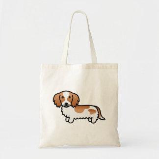 Perro largo picazo rojo del dibujo animado del bolsa tela barata