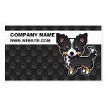 Perro largo tricolor negro del dibujo animado de tarjetas de visita