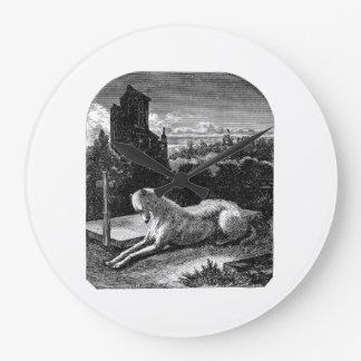 Perro leal del galgo de los 1800s del vintage reloj redondo grande